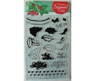 Clear stamps / clear stamps to superimpose sprig of Holly and Christmas messages
