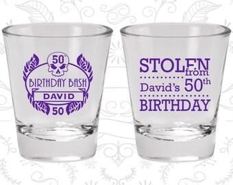 50th Birthday Shot Glasses, Personalized Birthday Shot Glasses, Birthday Bash, Stolen from Birthday, Birthday Shot Glasses (20068)