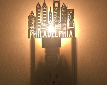 Philadelphia Skyline Night Light // Laser Cut // Black or White