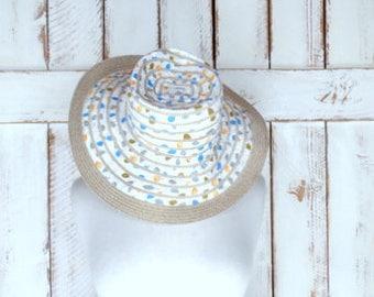Vintage white cotton/straw woven leaf print floppy sun hat/gardening hat/beach hat