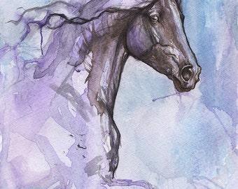 friesian horse, black horse, equine art, portrait, original pen and watercolour painting