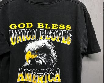 L vintage 90s 1994 Union Worker pocket t shirt