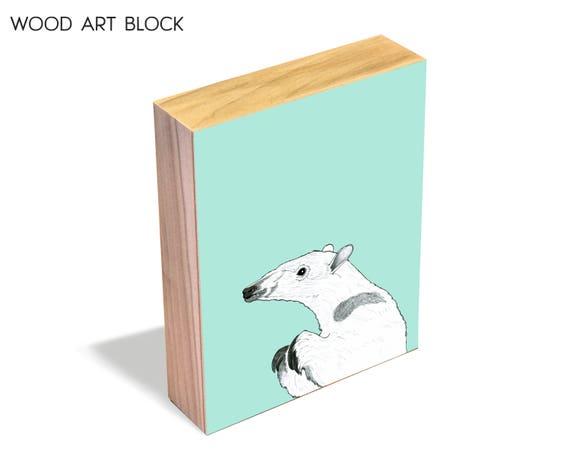 Anteater - wood art block