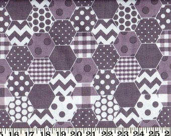 SALE ! Riley Blake Cotton Fabric Hexi Gray By the Yard #560-6