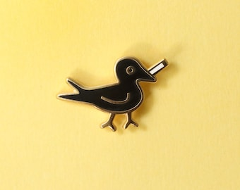Blackbird with Cigarette Enamel Pin