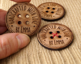 Large wooden buttons, personalized buttons for knitted and crocheted products, custom made buttons, engraved wooden buttons, set of 10