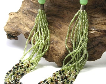Vintage Pale Green Multi-Strand Necklace