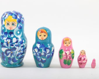 Matryoshka, Doll, Vintage, Nesting, Stacking Dolls, Set, Wooden, Painted, Russian, Babushka, Blue, Pink, Flowers ~ The Pink Room ~ 170515