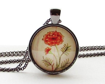 October Birthday Month Flower Pendant - Marigold - Floral Pendant - Mothers Day Gift - Birthday Gift for Woman - Friend - Flower Necklace