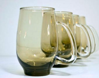 Midcentury Libbey Drinking Glasses:  Set of Four Smokey Glass Sculptured Handled Mugs Holds 14 Ounces