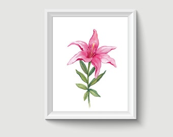 Lily Flower Watercolor Painting Poster Art Print P304