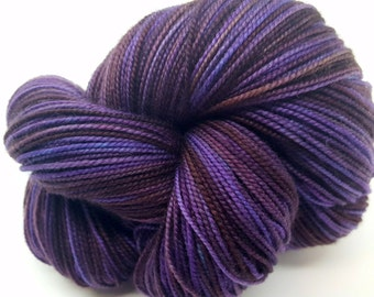 Purple Brown Blue Moonshadow Ritzy XL Merino Cashmere Nylon Sock Weight Hand Dyed ColorPurl Yarn