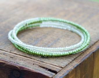 4 Layer Memory Wire Seed Bead Bracelet Nature Greens
