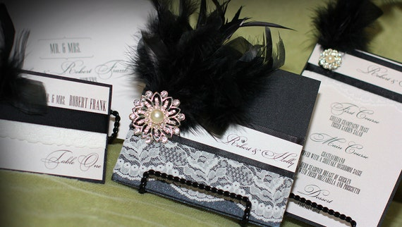 Luxury Wedding Invitation - Great Gatsby - Roaring 20's Inspired Invitation - Vintage Wedding Invitation