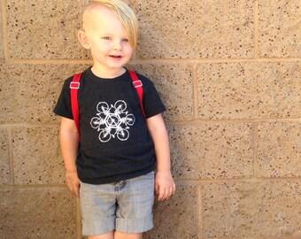 Kids Bike Graphic Tee - Circle of Bikes Kids Shirt - Tri Blend Unisex Boys or Girls Hipster Bicycle Graphic Tee