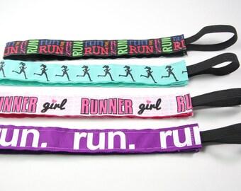 Running Headband 4-Pack, Nonslip Headbands for Women, Gift for Runners, Fitness Headband, Marathon Gift, Princess Half, Run Like a Girl