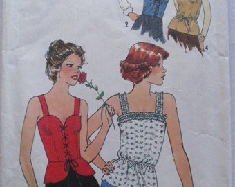 Women's Vintage 70's Sewing Pattern - Camisole Tops - Simplicity 8072 - Size 10, Bust 32 1/2