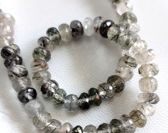 Brand new amazing Natural black RUTILATED QUARTZ faceted rondelles, 6 mm -- 7 mm , 8 inch strand[E3685]