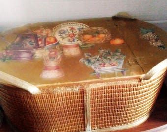 Vintage Oval Food Hamper, Woven Sides, Wooden Lid With Fruit Collage on Top, Spray Painted Gold