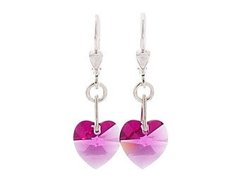 SWAROVSKI Mini Heart Sterling Silver Earrings in Fuschia Pink