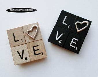 LOVE Fridge Magnet - Choice of Black or Classic Woodgrain Scrabble Tiles with Heart -Stocking Stuffer, Valentine's Day Gift, Girlfriend Gift
