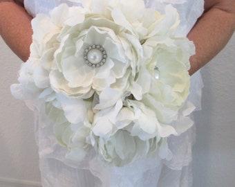 Fabric Brooch Bouquet, Fabric Flower Bouquet, Bridal Bouquet, Wedding Bouquet, Ivory