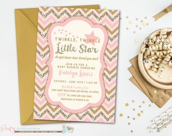 Twinkle Twinkle Little Star Baby Shower Invitation, Star Birthday Invitation, Pink and Gold Baby Shower Invitation