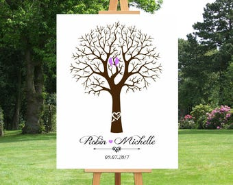 Thumbprint Tree Guest Book | Alternative Guest Book | Anniversary Family Tree | Anniversary Gift For Couple | Large Canvas Art - 51377