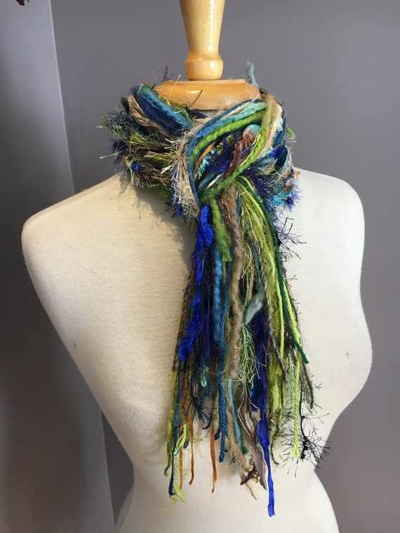 Handmade Fringie, Bluegrass, Blue and green scarf, Fringe Scarf, Multitextural hand-tied fringe scarf in navy, lime green, blue, tan, boho