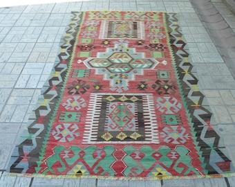 Vintage kilim rug. Turkish kilim rug. Vintage rug. Turkish kilims. Free shipping. 8.2 x 4.6 feet.