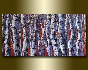 Birch Tree Forest Seasons Landscape Painting Oil on Canvas Textured Palette Knife Contemporary Original Modern Art 15X30 by Willson Lau