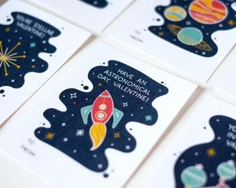 Space Valentines (set of 8 + 2) - Classroom Valentines - Kids Valentines - Teacher Valentines / PRINTABLE