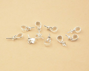 925 silver pendant etsy 10pcs or 20pcs sterling silver bails top cup drilled pin 925 silver pendant bails for mozeypictures Images