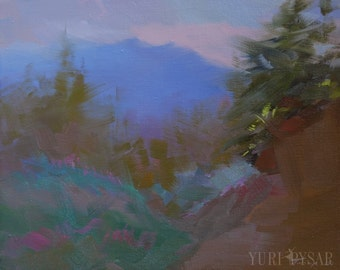 Gift for wanderlust, Plein air, Abstract painting, Oil landscape art, Mountain painting, Nature canvas painting, Forest artwork