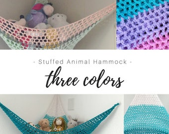 Toy Hammock / Choose Your Three Colors / Stuffed Animal Organization / Kids Room / Playroom / Nursery Decor