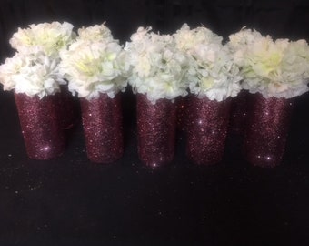 """Glitter Cylinder Vases 7 1/4"""" . Set of 10 w/paper flowers. For Baby Shower, Birthday Party, Wedding, etc..."""