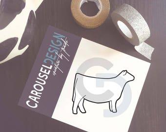 Show Cattle Heifer - Profile Outline Vinyl Sticker