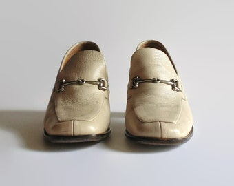 Beige Leather Loafers - Italian 90s Vintage Womens Shoes Size 6.5/7, Brown Wide Block Heels 7 Square Toe Mocassin Metal Buckles Leather Sole