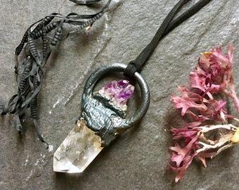 Quartz Crystal Necklace - Raw Crystal Pendant - Amethyst Necklace - Healing Crystal Necklace - Electroformed Necklace - Raw Copper Necklace