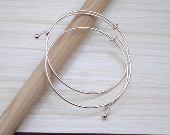 10 rose gold bangles finding.adjustable gold bracelet.65mm light gold bangles pendant jewelry making accessories