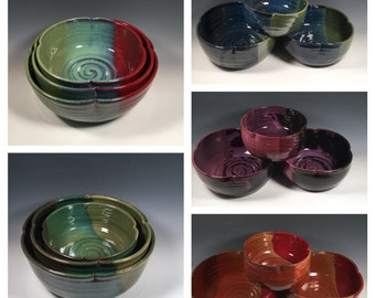 Custom Made 3 Clover shape Serving Bowl Set- Mixing Bowls -Made to order -Dining and Entertaining - Serving - Ceramics - Pottery - Stoneware