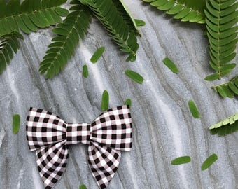Mini Sailor Bow in Black and White Gingham - hair clip or baby nylon headband