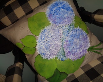"""Hand painted HYDRANGEA blossoms on an 18""""x18"""" cotton canvas pillow cover"""
