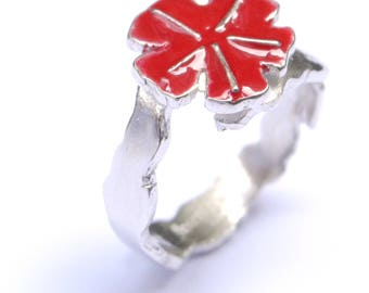 Ring adjustable Secret Garden in silver Sterling and Red resin