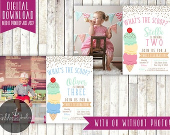 Ice Cream Birthday Party Invitation, Ice Cream Parlor Invite, Photo - Printable DIY