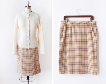 vintage plaid skirt, honey brown + cream wool pencil skirt, 70s 80s knee length skirt with pockets, 32 waist, large l