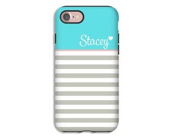 Personalized iPhone 7 case/7 Plus , iPhone X case, striped iPhone 8/8 Plus case, iPhone 6s/6s Plus case, iPhone 6 Plus/6 case