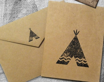 Native American Teepee Stamp Design Greeting Card Brown Recycled Hand Made First Nation Indian Get Well Soon I love you  by NativeRoar