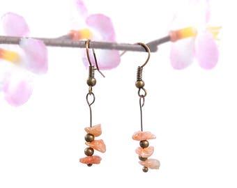 Antique bronze earrings, stone earrings, sunstone jewelry, dangle earrings, bronze jewelry natural sunstone earring nature stone jewelry vyc