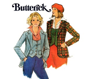 Butterick 4967 Womens Waistcoat Vest & Wide Lapel Jacket 70s Vintage Sewing Pattern Size 14 Bust 36 inches